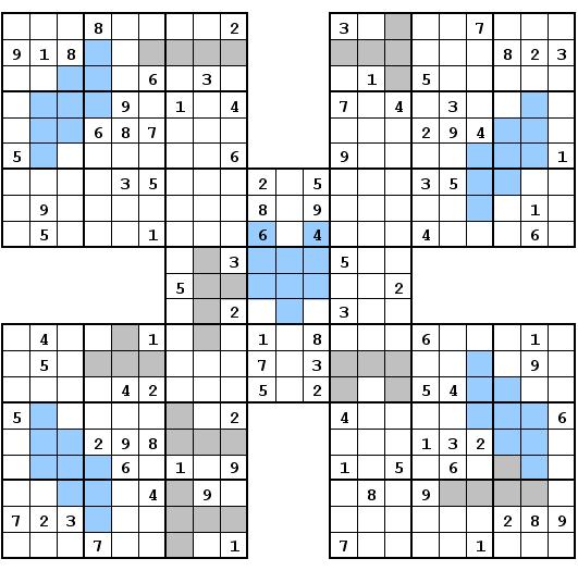 Samurai Sudoku With Extra Regions Renban Groups Rätselportal